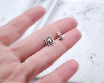 Anchor and helm Earrings, nautical earrings, ship wheel Studs, Cute small Studs, tiny post earrings, Everyday Jewelry, boat wheel earrings