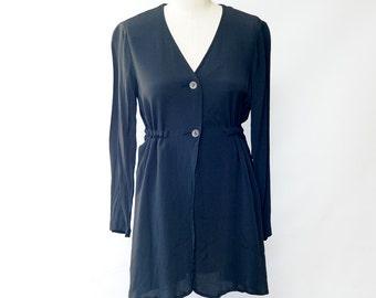 Vintage 90s Black Smock Tunic Top Blouse Blazer Size S/m