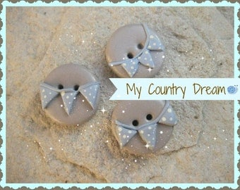 "Handmade Buttons ""Bunting Boy"" - polymer clay buttons - set of 3 pcs."