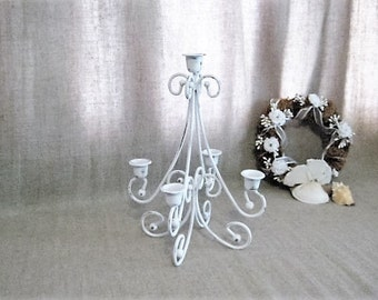 Pretty Painted Metal Candelabra / White 5-Arm Candelabra for Wedding or Home Decor