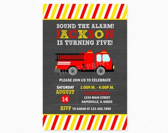 Fire Truck Birthday Party Invitation 2, Fireman Birthday Party Invitation, Personalized, Printable or Printed