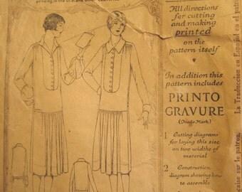 Vintage early 1920s Women's Slip On Drop Waist Dress Pattern Original McCall 4286 Size 36