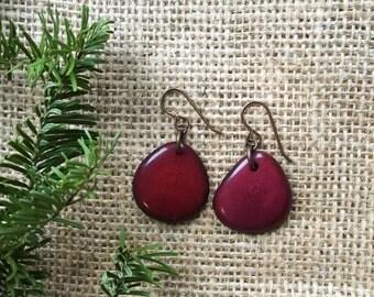Cranberry Earrings. Burgundy Earrings. Tagua earrings. Maroon Earrings. Tagua nut jewelry. Sela Design. READY to SHIP JEWERLY. Under 20