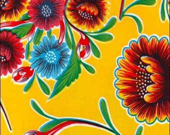 Round Oilcloth Tablecloth Bloom Yellow