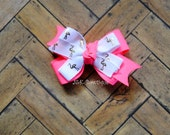 Double layer classic bow...gold flamingo with neon pink