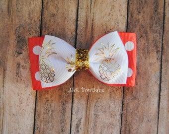 Pineapple double layer bow tie bow- Coral, white and gold