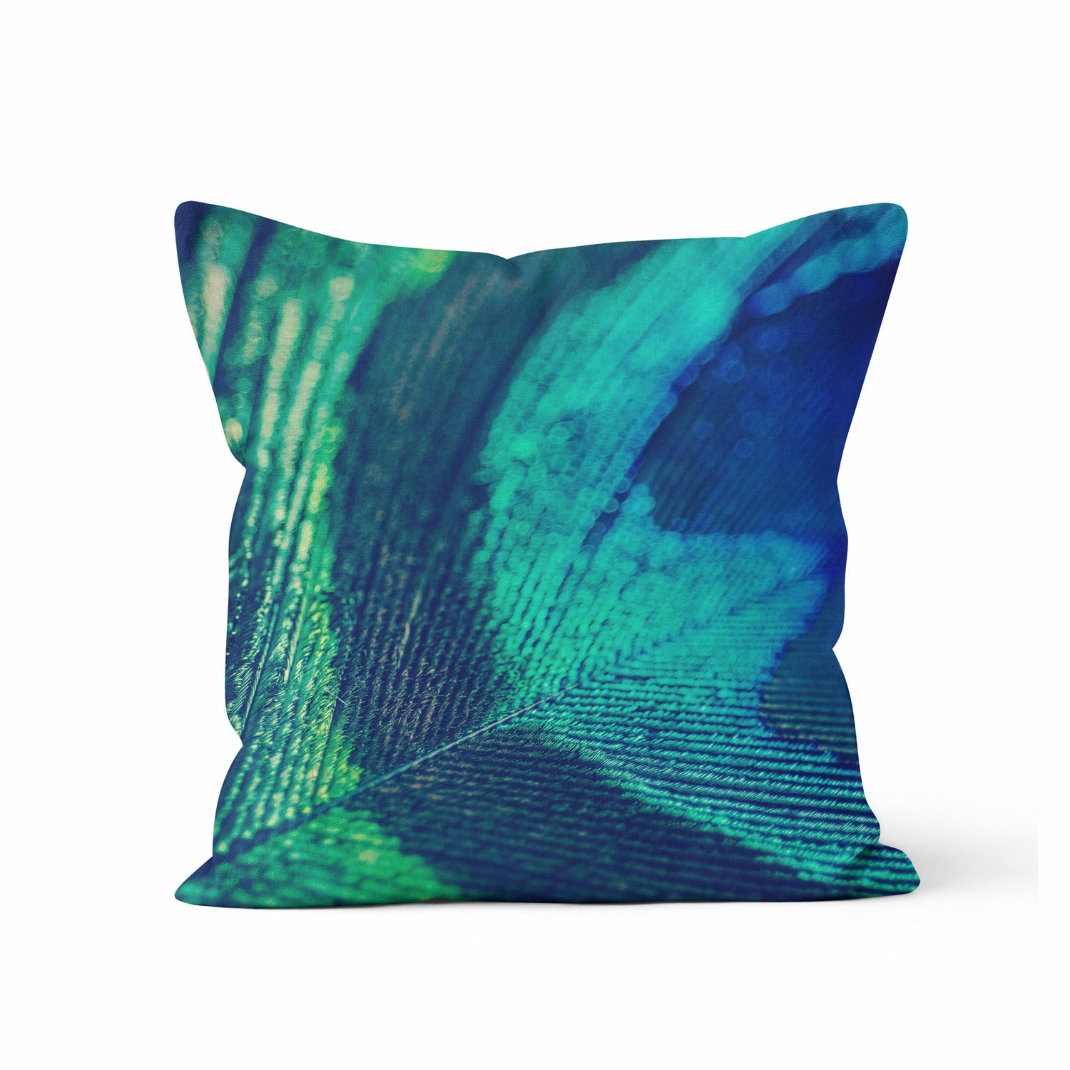 Peacock Blue Throw Pillow : Blue Peacock Feather Decorative Throw Pillow Case Peacock
