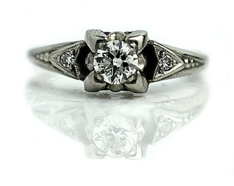 Antique 1930's Art Deco Engagement Ring Antique Art Deco .34ctw Old European Cut Diamond in Platinum Vintage Ring Size 6!