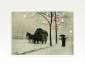 Christmas Wall Art, Geometric Art, Minimalist Landscape Print in Pastel Colours - Christmas Day