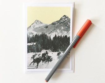 Snowy Mountain Card, Blank Greetings Card - Winter Races