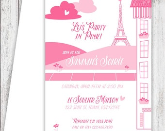 Pink Paris Party Invites