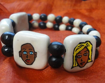 black and white whimsical face bracelet handpainted