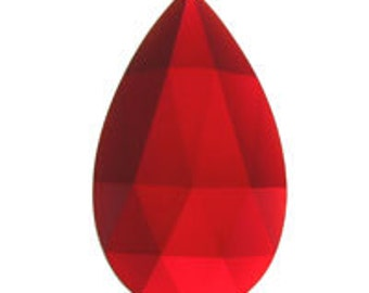 40x24mm Teardrop Red Faceted Flatbacked Glass Jewel for Stained Glass