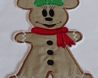 Ready to Ship RTS Boutique Custom Mickey Cookie Or Minnie Inspired Christmas embroidery Applique Patch DIY