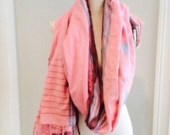 Subtle Stripe Pink Ikat Cotton Scarf Sarong