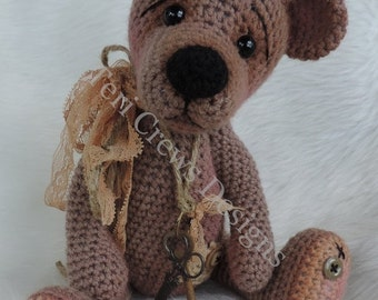 SALE Prim Teddy Bear Crochet Pattern by Teri Crews