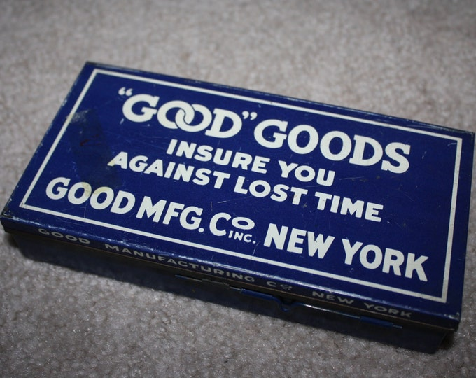 """Vintage Tin Advertising Box with Divided Compartments: """"Good"""" Goods, Good MFG. Co., New York; Plumbing Washers; with Original Contents"""