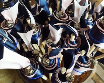 Blush Pink & Navy Blue Wedding  Ribbon Wands with Bells Great for Ceremonies, Events, Sport Cheering-50 count Double Ribbon
