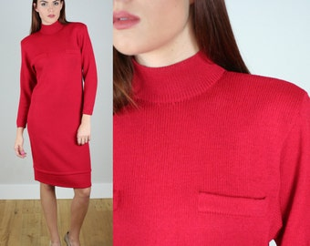 Vintage 90s St John Knit Red Mock Neck Shift Dress