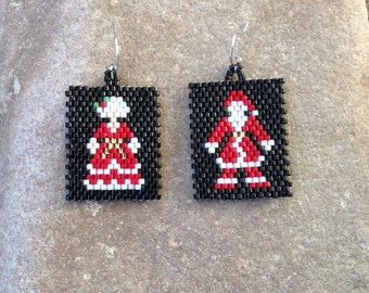Handmade Beaded Postage Stamp Mr. & Mrs. Santa Clause Earrings