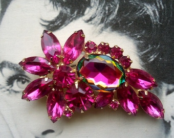 DeLizza and Elster a/k/a Juliana Watermelon Heliotrope and Fuchsia Brooch