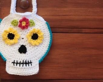 CROCHET PATTERN- Crochet Skull Pattern, Halloween Crochet Pattern, Crochet Bag Pattern, Crochet Sugar Skull- Instant Digital Download (65)