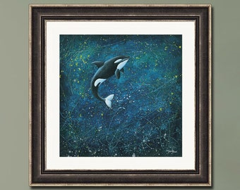 PRINT or GICLEE Reproduction -- Killer Whale Art, Orca Whale, Starry Night, Ocean Art, Ethereal Art -- The Whale Song