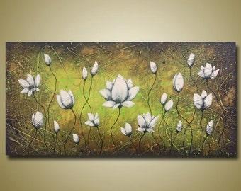 Beatiful Lotus Flower Painting - Long Sofa Art - White Flowers - Green Painting - 24x48 by Britt Hallowell