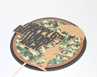 Army cake topper - army birthday party, army party, camouflage party, camo cake topper, camo centerpiece, military cake topper, centerpiece