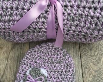 Crochet baby blanket/ crochet baby hat/Baby girl gift set/crochet baby girl gift set/baby girl blanket/handmade crochet baby blanket/
