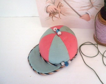 Antique Silk Pin Cushion Jockey Hat Sewing Accessory Equestrian Polo 1920's