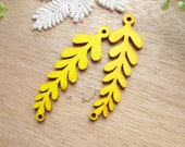 WP55 /# 1 Yellow / Filigree Wood Leaf Findings For Earring/Laser Cut Charm / Pendant /  Colorful wooden Connector / Linker