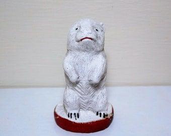 Little White Polar Bear Cub Chalkware Figure
