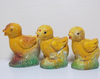 Three Little Yellow Chicks Coming out of It's Shell Chalkware Figure