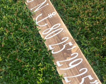 Made to order custom gps/latitude longitude wood sign