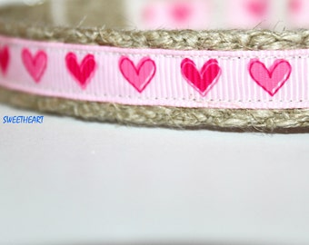 "Pink Heart Dog Collar, 5/8"" Wide Collar, Preppy Stripe Dog Collar, Narrow Dog Collar, Girl Dog Collar"