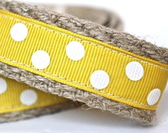 Polka Dot Dog Leash, Yellow and White Dog Leash, 6 ft Dog Leash, Spring Summer Dog Leash