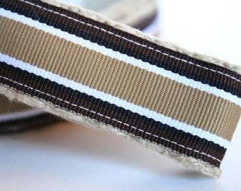 Stripe Brown Dog Leash, 1 Inch Dog Leash, Big Dog Leash, 6 Foot Dog Leash, Tan Dog Leash