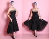 RARE 1950's Couture Custom Made Designer Strapless Extreme Hourglass Cocktail Dress w/ Risque Illusion Bust 3D Mermaid Hem by Peggy Hunt - M