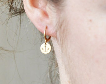 Cute, round ANCHOR earrings // raw brass hook earrings // hand stamped jewelry