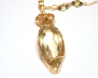 Gold Necklace Yellow Citrine Necklace Wire Wrapped Necklace Handmade Stone Necklace Citrine and Gold Necklace
