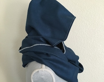 Silk herringbone hooded scarf in mallard blue and navajo print