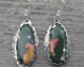 Reserved for Rachael Armstrong - Ocean Jasper Sterling Silver Earrings