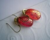 Dichroic Earrings  Gilded Orange Glitter 14 K Gold Earwires Fused Glass Earrings Dichro Orange Earrings Color Shifting Glass Iridescent