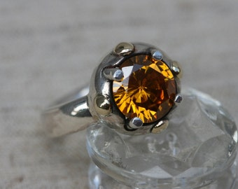 Silver Ring ,Orange Spinel Silver Ring, Blue Stone Ring,Orange Stone Ring, Orange Stone, Sterling silver, Silver and Gold Ring,