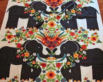 1960s Fabric, Elephant Fabric Panel, Large Print, Vintage Fabric Cotton, 4 Panels