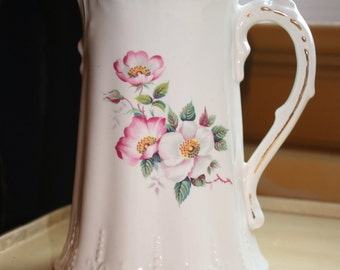 House of Webster Wild Briar Rose Pitcher with Gold Trim