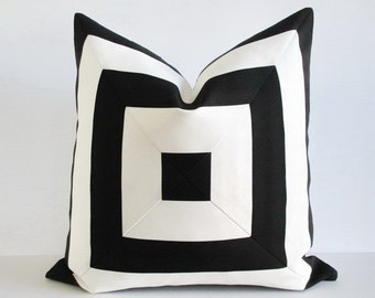 Pillow Cover Indoor Outdoor Mitered Black White Stripes 22 x 22