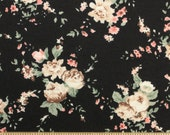 SLIGHTLY FLAWED Tan Beige Coral and Black Floral Rayon Spandex Knit, 1 Yard