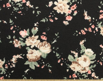 SLIGHTLY FLAWED Tan Beige Coral and Black Floral Rayon Spandex Knit, 1 Yard